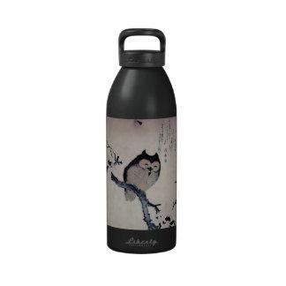 Japanese Woodblock Art Owl Print Drinking Bottles