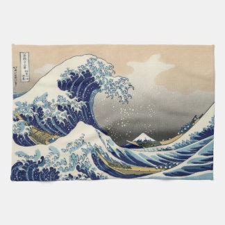 Japanese Woodblock: Big Wave off Kanagawa Towel