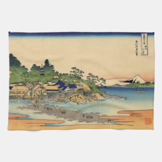 Japanese Woodblock: Enoshima in Sagami Province Hand Towel
