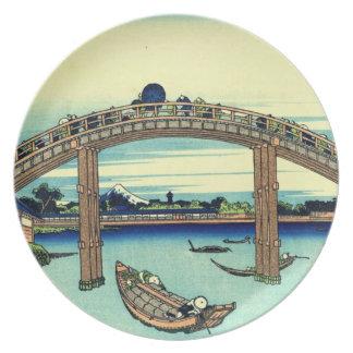 Japanese Woodblock: Mannen Bridge at Fukagawa Dinner Plate