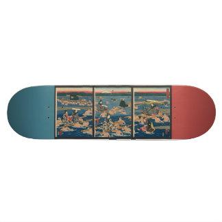 Japanese Woodblock Print,  Beauties on a Pilgrimag Skateboard