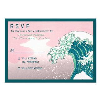 Japanese Woodblock Print Wedding RSVP Custom Announcements