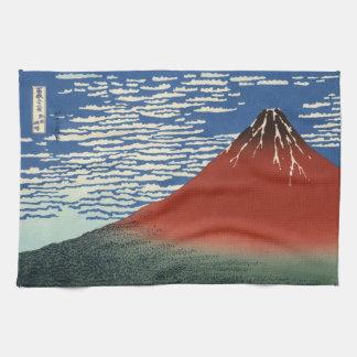 Japanese Woodblock: Red Fuji Southern Wind Kitchen Towel