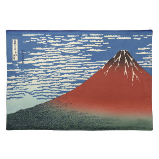 Japanese Woodblock: Red Fuji Southern Wind Placemat