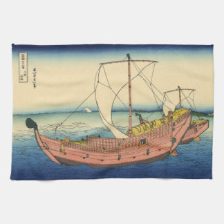 Japanese Woodblock: The Kazusa Sea Route Kitchen Towels