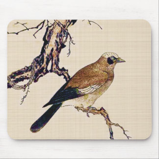 Japanese Woodcut of a Finch, Brown and Beige Mouse Pad