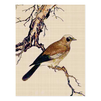 Japanese Woodcut of a Finch, Brown and Beige Postcard