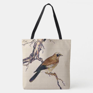 Japanese Woodcut of a Finch, Brown and Beige Tote Bag
