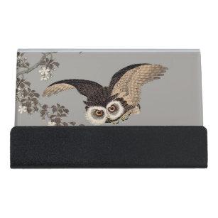 Japanese business card holders zazzle japanese woodcut print art flying owl desk business card holder colourmoves