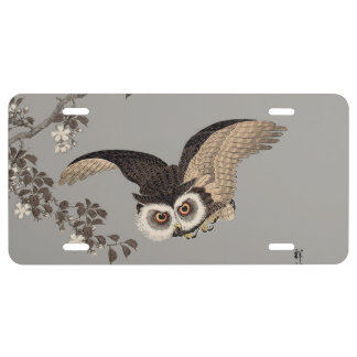 Japanese Woodcut print art flying owl License Plate
