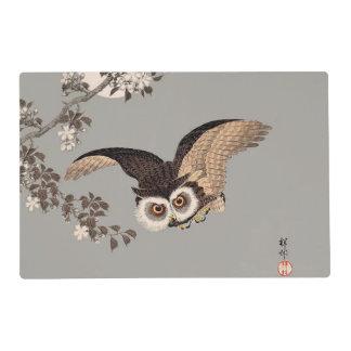 Japanese Woodcut print art flying owl Placemat