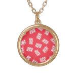 Japanese Yukata Textile, Maneki Neko (Lucky Cat) Gold Plated Necklace