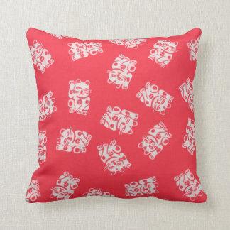 Japanese Yukata Textile, Maneki Neko (Lucky Cat) Throw Pillow