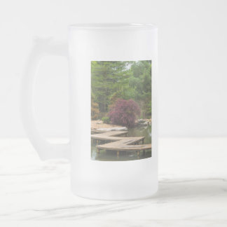 Japanese Zig Zag Bridge Frosted Glass Beer Mug