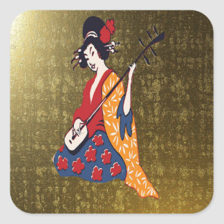 Japenese Gold Square Sticker