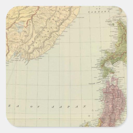 Japón 2 pegatina cuadrada