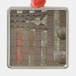 Japón, Ishikawa, Kanazawa, detalle de la puerta Adorno Cuadrado Plateado