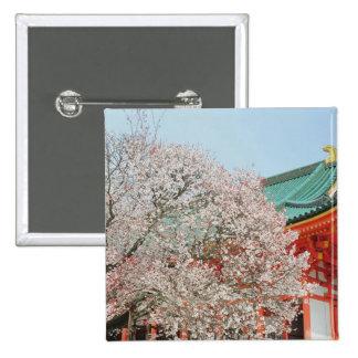 Japón, Kyoto. Flor de cerezo de sintoísta Pin Cuadrada 5 Cm