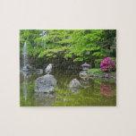 Japón, Kyoto. Garza en hojas verdes frescas Puzzles