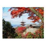 Japón, Kyoto. Templo de Kiyomizu en color del Postal