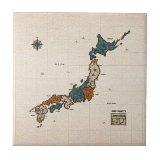 Japón - mapa del vintage azulejo
