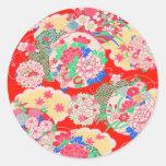 Japón, Sakura, kimono, Origami, Chiyogami, flor, Etiqueta Redonda