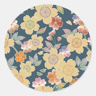 Japón, Sakura, kimono, Origami, Chiyogami, flor, Etiquetas Redondas