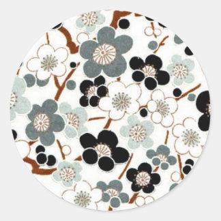 Japón, Sakura, kimono, Origami, Chiyogami, flor, Pegatina Redonda