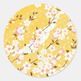 Japón, Sakura, kimono, Origami, Chiyogami, flor, Pegatinas Redondas