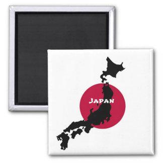 Japón - silueta y bandera del mapa imán cuadrado