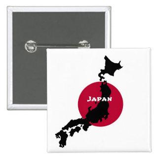 Japón - silueta y bandera del mapa pin cuadrado