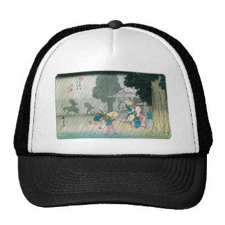 Japón viejo en la lluvia circa 1834-42 gorras de camionero