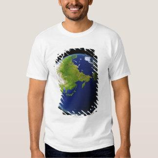 Japón visto de espacio camisas
