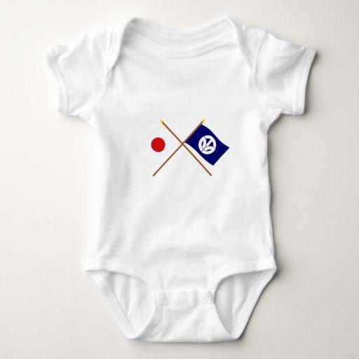 Japón y banderas cruzadas Fukui T Shirts