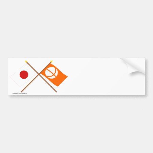 Japón y banderas cruzadas Nagano Pegatina De Parachoque