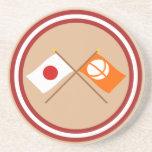 Japón y banderas cruzadas Nagano Posavasos Diseño