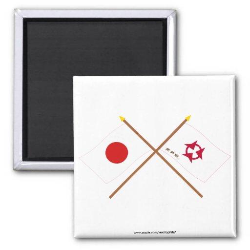 Japón y banderas cruzadas Oita Imán De Frigorifico