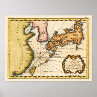 Japón y Corea Bellin, reproducción 1747 de Nicolau Posters