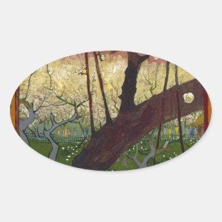 Japonaiserie de Van Gogh después de Hiroshige Pegatina Ovalada