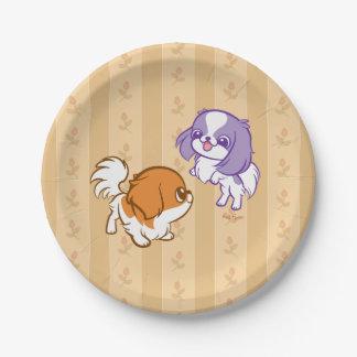 Japonés Chin de los perritos de Kawaii que se Plato De Papel 17,78 Cm