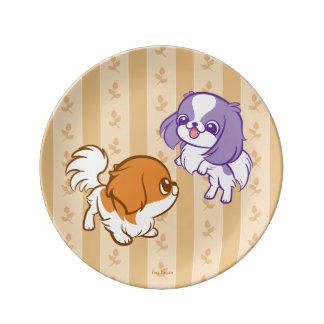 Japonés Chin de los perritos de Kawaii que se Platos De Cerámica