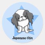 Japonés Chin del negro de la estrella de Kawaii Etiquetas Redondas