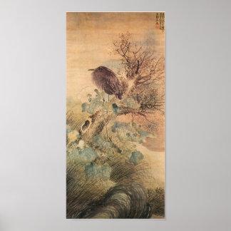 Japonés del pájaro y del hibisco del vintage póster