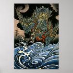Japonés del vintage de la multa del dragón de Kuni Posters