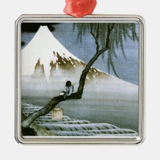 Japonés del vintage del muchacho y del monte Fuji  Adorno De Reyes