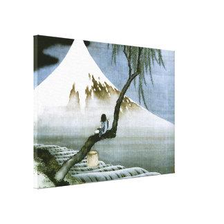 Japonés del vintage del muchacho y del monte Fuji Impresión En Lienzo Estirada