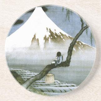Japonés del vintage del muchacho y del monte Fuji  Posavasos Cerveza