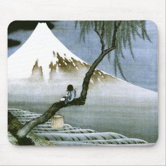 Japonés del vintage del muchacho y del monte Fuji  Tapete De Raton
