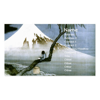 Japonés del vintage del muchacho y del monte Fuji  Plantillas De Tarjetas De Visita