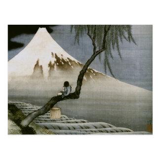Japonés del vintage del muchacho y del monte Fuji  Postales